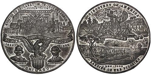 101659     UNITED STATES. Christopher Columbus white metal Medal.