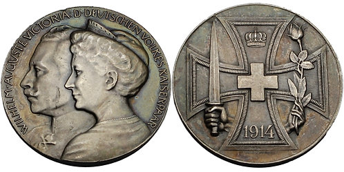 100187  |  GERMANY. Wilhelm II with Augusta Victoria silver Medal.