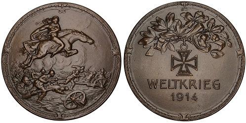 101293  |  GERMANY. Fury on Horseback/Propaganda bronze Medal.
