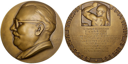 101395     BELGIUM. Prime Minister Achille van Acker Art Deco bronze Medal.