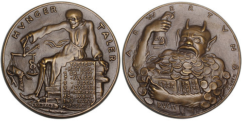 100795  |  GERMANY. Deutsche Mark introduction satirical cast bronze Medal.