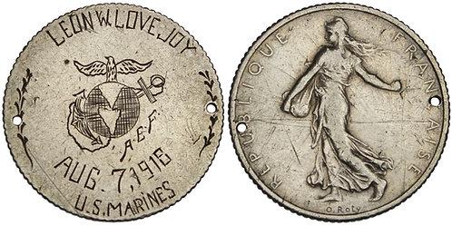 100973  |  UNITED STATES & FRANCE. Leon W. Lovejoy WWI ID Badge or Memento.