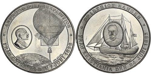 100400  |  SWEDEN & NORWAY. Andrée & Nansen white metal Medal.