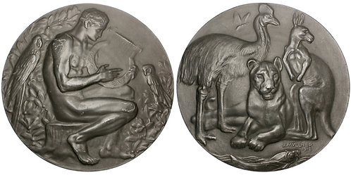 101412  |  AUSTRIA. Orpheus and the Animals/End of the War zinc Medal.