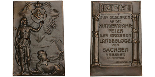 101263  |  GERMANY. Dresden. Masonic bronze Plaque.