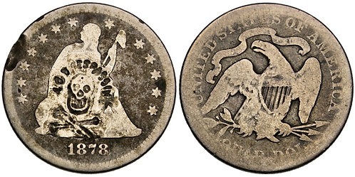 "101554     UNITED STATES. ""No Trespassing"" counterstamped silver Quarter."