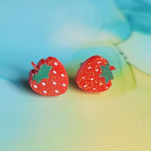 Handmade red glitter strawberry resin stud earrings, hypoallergenic