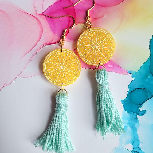 Handmade yellow lemon resin earrings with mint green tassels