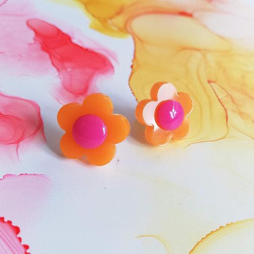 Handmade orange and pink flower resin stud earrings, 70s inspired