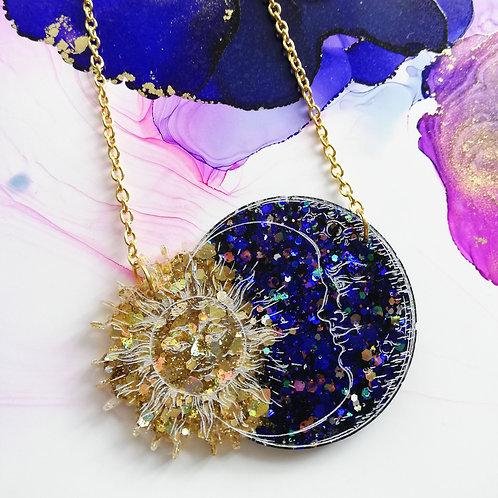 Handmade sun and moon glitter resin necklace, gold plated chain