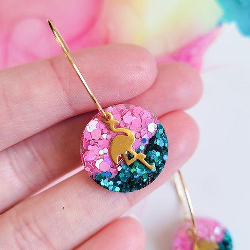 Handmade flamingo earrings, pink and turquoise glitter resin hoops