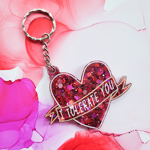 Handmade love heart glitter resin keyring, pink and red I tolerate you