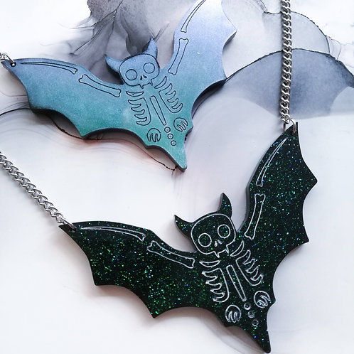 Handmade Halloween bat skeleton resin necklace on stainless steel chain