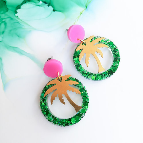 Handmade glitter resin circle and palm tree earrings, green and pink