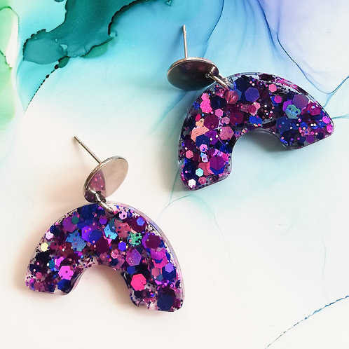 Handmade glitter purple pink and blue rainbow shaped resin earrings