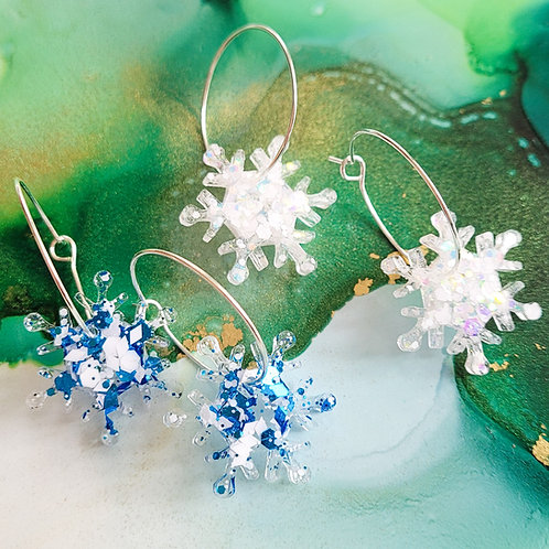 Handmade glitter resin snowflakes hoop earrings, blue and white or white