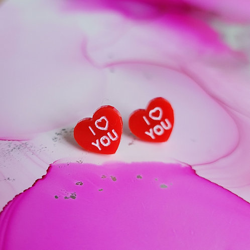 Handmade love message heart resin stud earrings, I love you , red heart