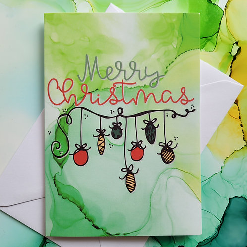 Merry Christmas greeting card, A6 folded with envelope, abstract art background