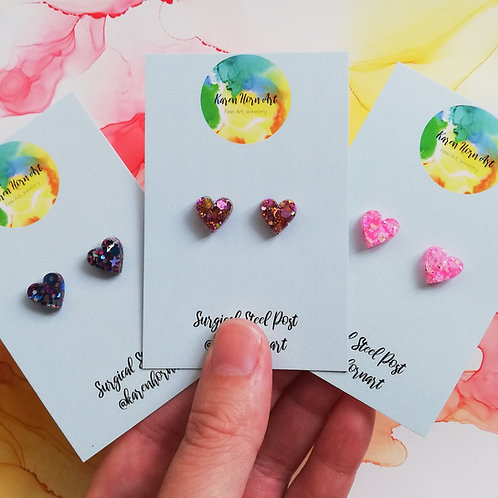 Handmade glitter heart resin stud earrings, pink, glitter stars or pink and gold