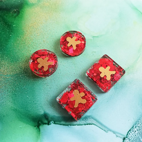 Handmade red glitter and gold Christmas resin stud earrings, gingerbread man