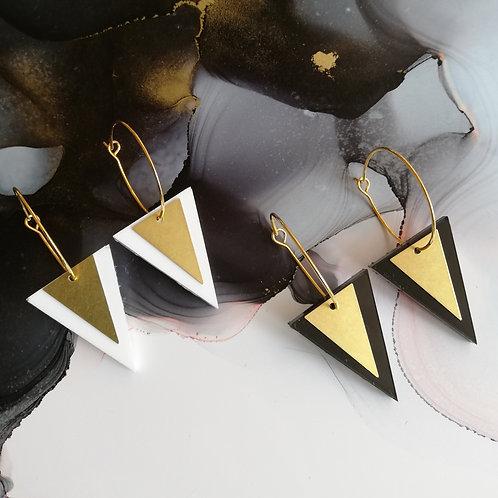 Handmade triangle resin hoop earrings, black or white and gold, art deco earring