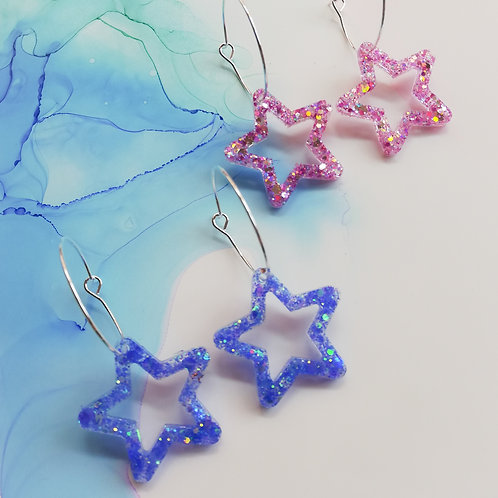 Silver plated hoop earrings with glitter resin star charm, pink or blue