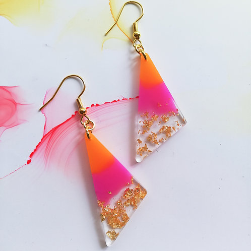 Handmade triangle resin earrings, pink, orange and gold leaf, gold plated hook
