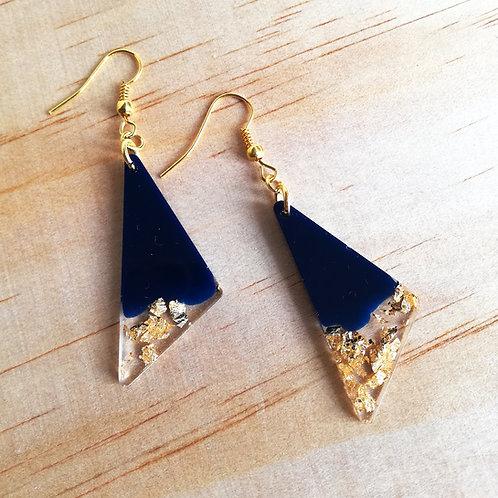 Triangle navy and gold resin earrings, dangle, drop