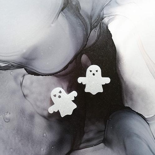 Handmade Halloween ghost resin stud earrings, white and glitter