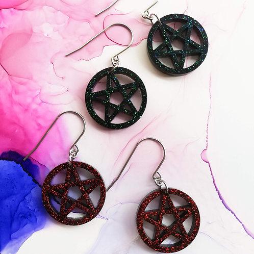 Handmade Halloween glitter pentagram dangle resin earrings
