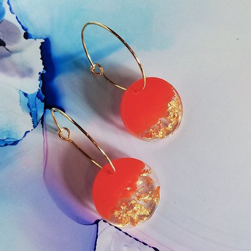 Gold plated hoop earrings with handmade circle resin charm, orange and gold