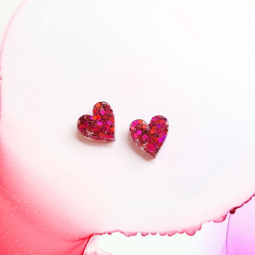 Handmade pink and red glitter love heart resin earring studs, hypoallergenic