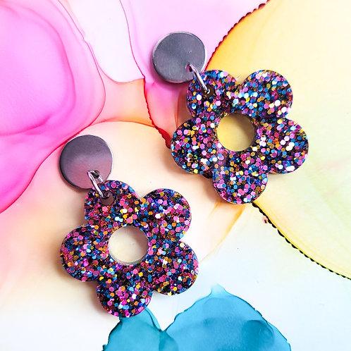 Handmade glitter resin flower earrings, gift for her