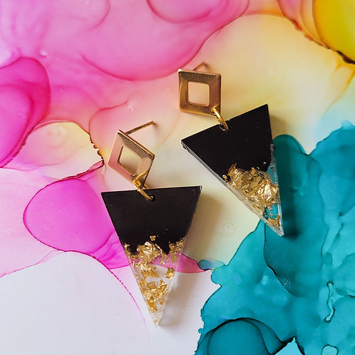Handmade dangle drop triangle resin earrings, black and gold