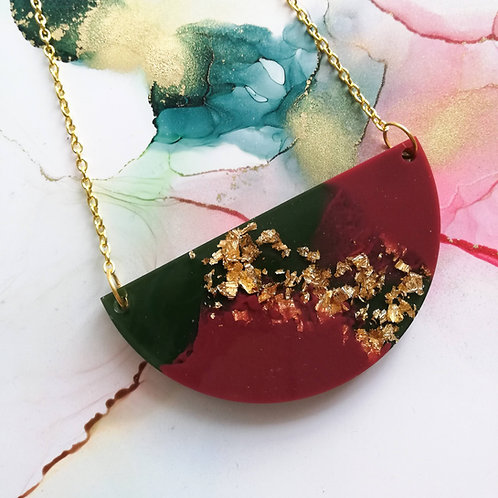 Handmade military green and burgundy semi circle resin necklace
