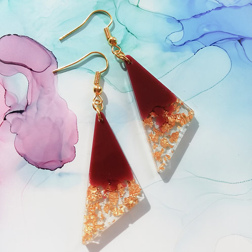 Handmade maroon burgundy and gold triangle earrings, dark red and gold leaf