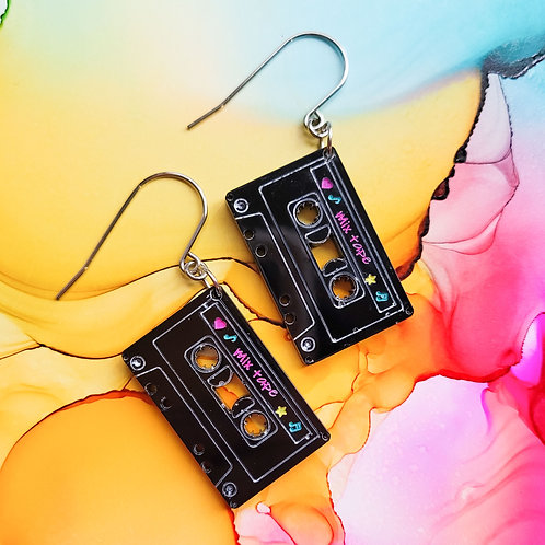 Handmade cassette tape dangle resin earrings, 90s inspired earrings