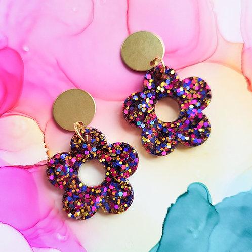 Handmade glitter resin flower earrings,  dark pink blue and gold, hypoallergenic