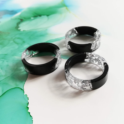 Handmade black and silver leaf flat band resin ring, women ring