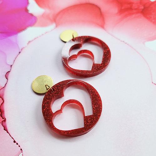 Handmade red glitter hearts resin earrings, dangle drop, valentine gift for her