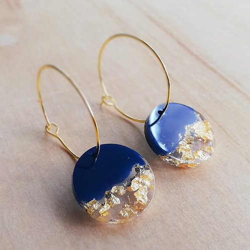 Gold plated hoop earrings with handmade resin circle resin charm, navy blue