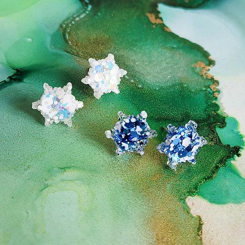 Handmade glitter christmas snowflakes resin stud earrings