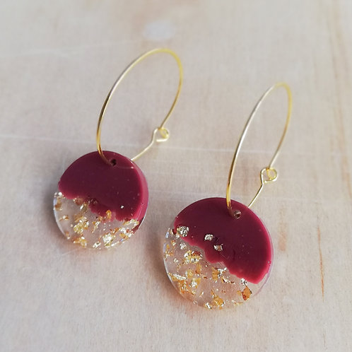 Handmade golden hoop earrings with resin circle charm, burgundy and gold leaf