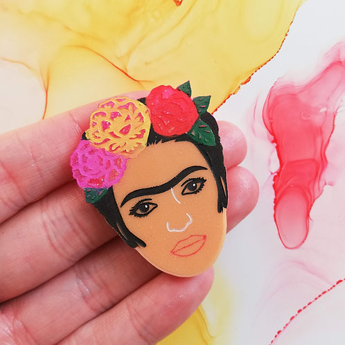 Handmade Mexican woman artist hand painted resin badge, famous artist