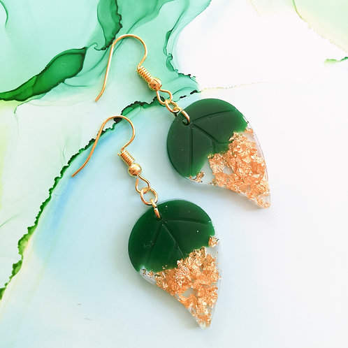 Handmade green and gold resin leaf earrings, gold plated hook
