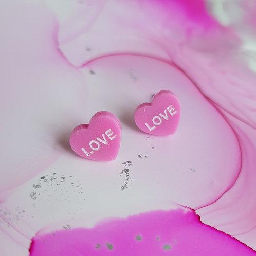 Handmade pink love heart resin earrings surgical steel post, women earrings