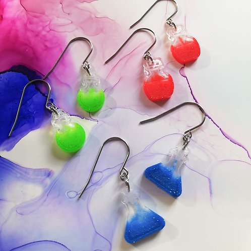 Handmade glitter potions dangle resin earrings, red, green or blue
