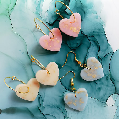 Handmade heart resin earrings, 3 colours, hoops or hooks