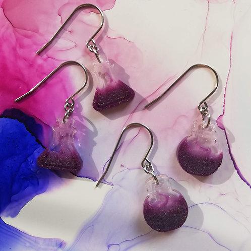 Handmade Halloween purple potion resin earrings, dangle drop, witch earrings