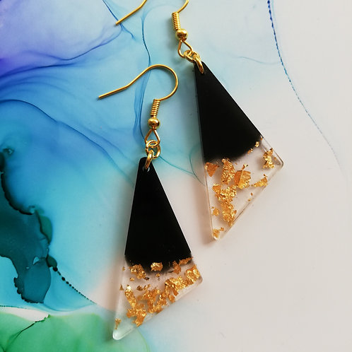 Handmade black and gold triangle resin earrings, gold plated hooks